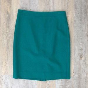 J.Crew Factory Wool Pencil Skirt Green Sz 4